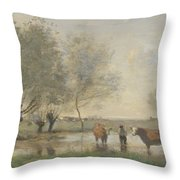 Camille Corot   Cows In A Marshy Landscape Throw Pillow