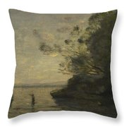 Camille Corot   Evening On The Lake Throw Pillow
