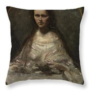 Camille Corot   Sketch Of A Woman In Bridal Dress Throw Pillow