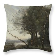 Camille Corot   The Leaning Tree Trunk Throw Pillow