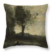 Camille Corot   The Wood Gatherer Throw Pillow