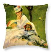 Camille Monet And Her Son Jean In The Garden At Argenteuil 1874 Throw Pillow