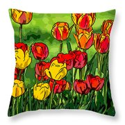 Camille's Tulips Throw Pillow