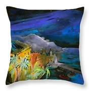 Camogli By Night In Italy Throw Pillow