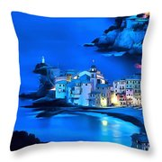 Camogli Sunrise - Camogli All'alba Paint2 Throw Pillow