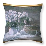 Camomile In The Pot And Busket With Pearls  Throw Pillow