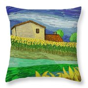 Camp De Girasols Throw Pillow
