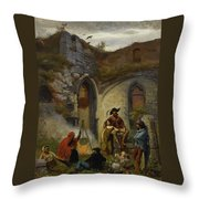 Camp Gypsies In The Ruins Of The Abbey Throw Pillow