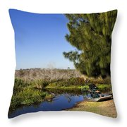 Camp Holly On The St Johns River In Florida Throw Pillow