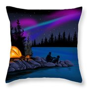 Camping With Dog Throw Pillow