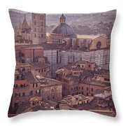 Campanile And Cathedral In Siena Italy Antique Matte Throw Pillow
