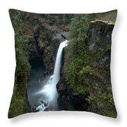 Campbell River Rain Forest Falls Throw Pillow