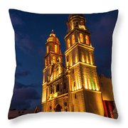 Campeche Cathedral At Evening Throw Pillow