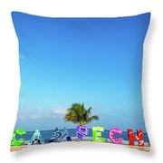 Campeche Sign And Sea Throw Pillow