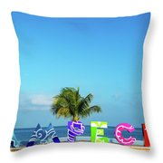 Campeche Sign And Sea View Throw Pillow