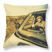 Camper Man On Adventure Throw Pillow