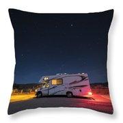Camper Under A Night Sky Throw Pillow