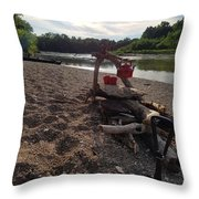 Campfire Cooking Soon - Indiana Canoeing Throw Pillow