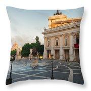 Campidoglio Square In Rome Throw Pillow