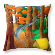 Camping - Through The Forest Series Throw Pillow