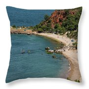 Camping And Swimming Throw Pillow