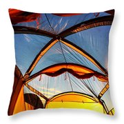 Camping At Sunrise Throw Pillow