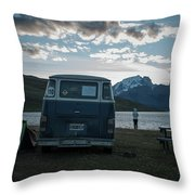 Camping At Torres Del Paine Throw Pillow