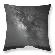 Camping Under The Galaxy Bw Throw Pillow