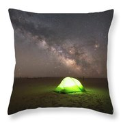 Camping Under The Milky Way Galaxy Throw Pillow