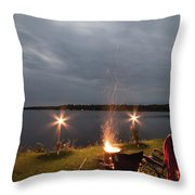 Campsite Lakeside Throw Pillow