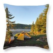 Campsite On Alder Lake Throw Pillow