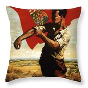 Canada - Canadian Pacific Railway - Flag - Retro Travel Poster - Vintage Poster Throw Pillow