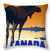 Canada For Big Game Travel Canadian Pacific - Moose - Retro Travel Poster - Vintage Poster Throw Pillow
