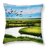 Canada Geese Entering Idaho's Teton Valley Throw Pillow