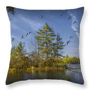 Canada Geese Flying By A Small Island On Hall Lake Throw Pillow