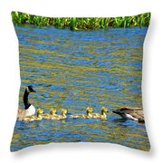 Canada Geese With 5 Goslings Throw Pillow