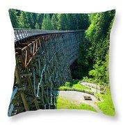Canada National Historic Wooden Trestle- Kinsol Trestle Near Shawnigan Lake, Bc Canada. Throw Pillow