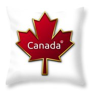 Canada Red Leaf Throw Pillow