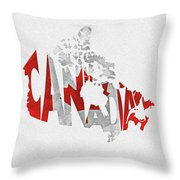 Canada Typographic Map Flag Throw Pillow