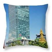 Canadia Bank Tower Skyscraper In Central Phnom Penh City Cambodi Throw Pillow