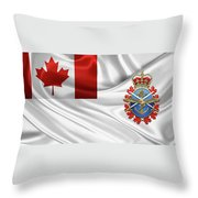 Canadian Armed Forces  -  C A F  Badge Over Flag Throw Pillow
