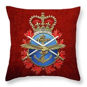 Canadian Armed Forces  -  C A F  Badge Over Red Velvet Throw Pillow