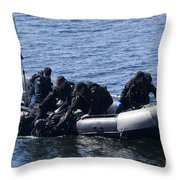 Canadian Divers Being Helped Aboard Throw Pillow
