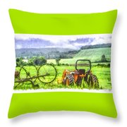 Canadian Farmland With Tractor Throw Pillow