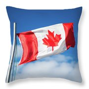 Canadian Flag Flying Proudly Throw Pillow