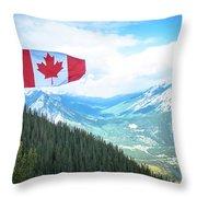 Canadian Flag Over Banff Throw Pillow