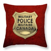 Canadian Forces Military Police C F M P  -  M P Officer Id Badge Over Red Velvet Throw Pillow