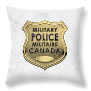 Canadian Forces Military Police C F M P  -  M P Officer Id Badge Over White Leather Throw Pillow