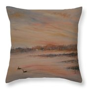 Canadian Geese At Sunset Throw Pillow