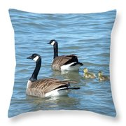Canadian Geese Family Vacation Throw Pillow